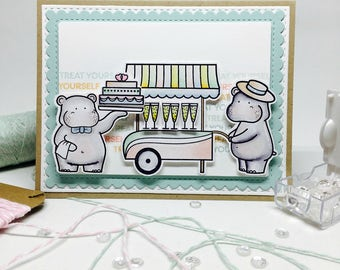 Handmade Birthday Card - Treat Yourself - Hippos