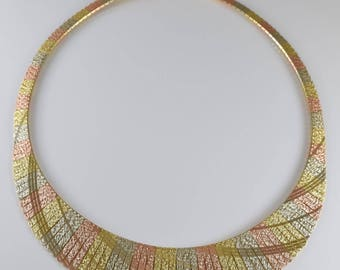 """14K Tricolor Gold 16"""" Graduated Collar Necklace"""