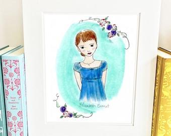 Elizabeth Bennet Print - 5x7 - Pride and Prejudice Print - Wall Art - Jane Austen - illustration - HE1