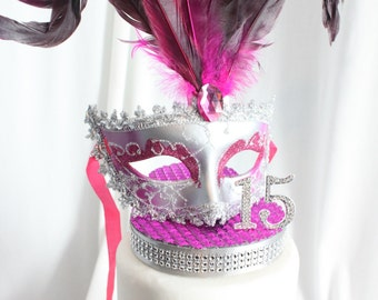 Masquerade, Mask, Rhinestone Sweet 16 Cake Topper Hot Pink and Silver, overthetopcaketopper