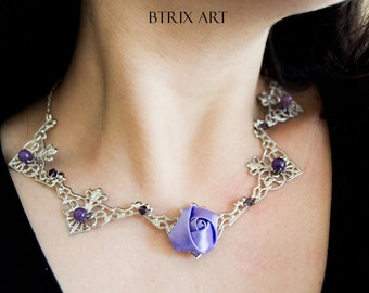 Lilac Rose necklace - Silver coloured filigree - Gothic/Renaissance style