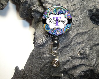 Paisley Retractable Badge Holder,Personalized Badge Reel,Monogram Badge Reel,Monogram Badge Holder,Monogram Stethoscope Id Tag -Style 600