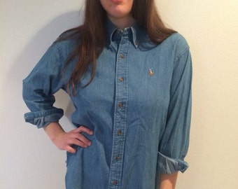 Vintage Ralph Lauren denim shirt - womens size 11 (medium)