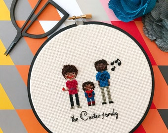 Custom 3 Character Cross Stitch Family Portrait   Housewarming Gift   Custom Portrait  Custom Cross Stitch  by Cloth and Twig