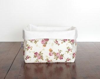 Rosy Vines Storage Basket, Fabric Storage Basket, Nursery Storage, Change Table Storage, Fabric Bin, Storage Sack