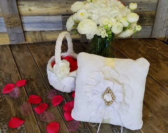 Lace Flower Basket and Ring Pillow with Brooch- Wedding Vintage