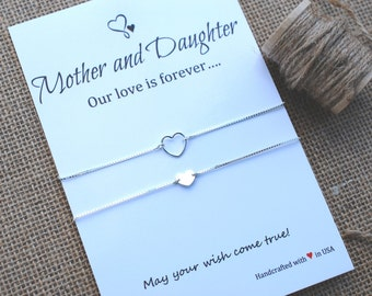 Mother Daughter Bracelets Sterling Silver Heart Charm Love Forever Card Inspirational Gift Wishing Bracelet Mother Daughter Sterling Silver