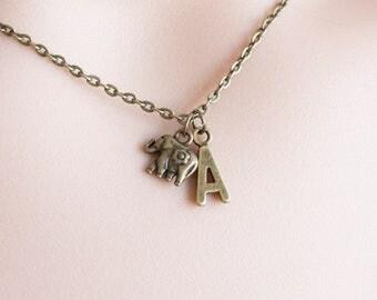 Bronze elephant Initial necklace, elephant necklace, elephant necklace, elephant jewellery,elephant , bronze necklace, BCNELE1