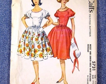 1960s vintage sewing pattern, uncut McCall's 5731, bouffant skirt, bust 31-32