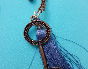Antique Copper Key & Cobalt Blue Tassel with Silver Accents Necklace and Earring Set