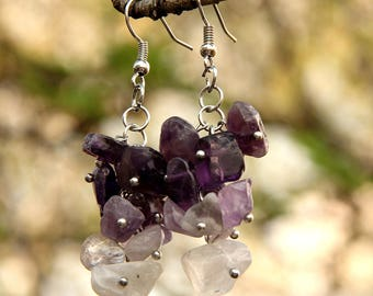 amethyst birthstone Jewelry  birthstone earring amethyst earring Cluster earrings women earrings February birthstone stone Jewelry