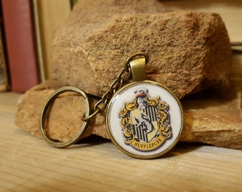 Free Shipping - Harry Potter Hufflepuff Antique Bronze Finish Keychain
