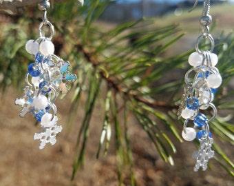 Blue Snowflake Cluster Earrings