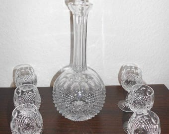 Carafe with 6 glasses, lead crystal