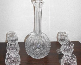 Decanter with 6 glasses, lead crystal