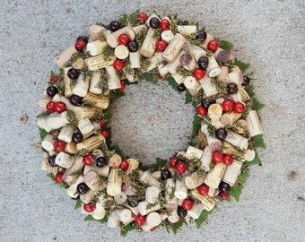 "Christmas Cranberry & Greenery Wine Cork Wreath 12-14"""
