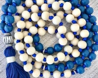 Blue white mala necklace wood mala necklace yoga mala tassel necklace meditation necklace wooden mala long tassel necklace wood beads mala
