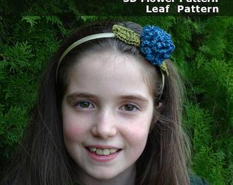 3D crochet flower pattern boho crochet applique diy crochet pattern Christmas headband pattern flower headband crochet headband easy crochet