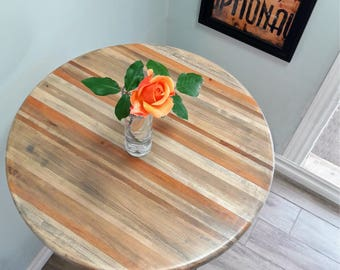 Round Bar Height Pub Table - Reclaimed Wood Top, Pedestal Base with Foot Ring