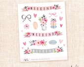 Romance - 16 Watercolor decorative planner stickers