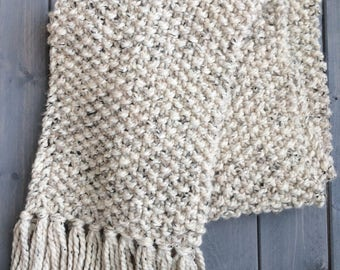 READY TO SHIP Chunky Knit Scarf, Knitted Scarf, Long Fringe Scarf, Neutral Scarf, Oatmeal Scarf