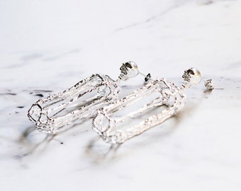 Rough Diamonds Skull Collection - The Uncommon Defy Project -  Silver Plated - Skull Diamond Skeleton Stud Earrings - UCSE101 - by Defy