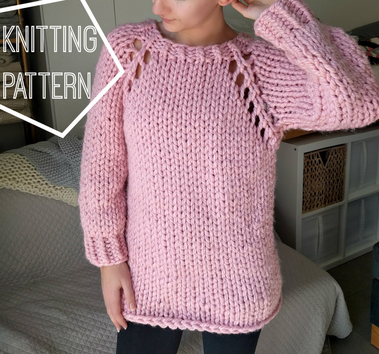 Chunky Knit Jumper Pattern Free : Chunky Knit Sweater Pattern, Top Down Raglan Sweater Pattern, Super Chunky Kn...