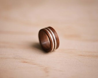 Double Sterling Silver Inlay in Santos Rosewood Bentwood Ring