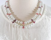 Double Stranded White and Red Glass Pearls Beaded Women's Neckace - White Glass Pearls With Red Crystal Ascent Double Strands Necklace