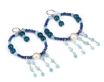 Blue hoop chandelier Earring