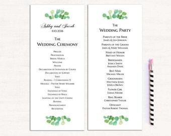 Garden wedding program template Summer ceremony program diy Outdoor wedding Green program printable Greenery ceremony card download 1W146