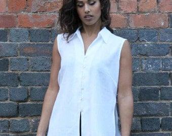 80's Sleeveless Vintage Shirt Blouse White Vintage Shirt Womens Sleeveless Shirt Retro Blouse 80's Vintage Clothing