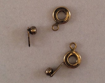 Ball And Socket Clasps, 6mm, Antique Gold, SKG02AG, 2 Pair