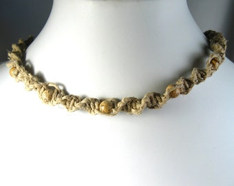 Hemp Twist Necklace with Picture Jasper Stone Beads