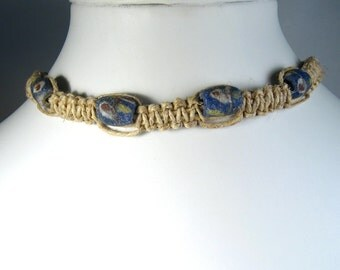 Handmade Flat Hemp Choker Necklace with Blue Sandcast Beads