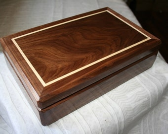 Black Walnut Small woodJewelry box,  Keepsake box, Valet box, 7 x 11 x 3 Inches. 4SVW