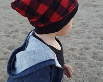 red and black buffalo plaid beanie, toddler beanie, baby beanie, winter hat, baby fall hat