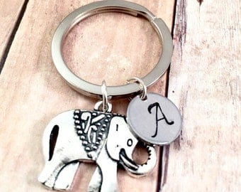 Elephant charm Keychain, best friend keychain, purse charm, good luck charm, Large elephant keyring, gift for her, antique silver charm