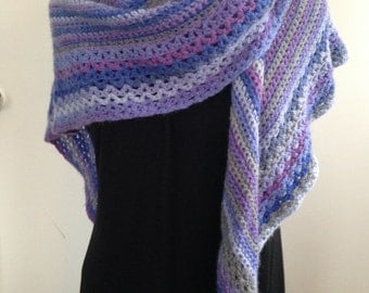Crochet Wool Shawl in Purple, Blue and Grey, Crochet wrap is perfect for Cool Summer evenings and Fall, a lovely Gift for Her, Women, Teens