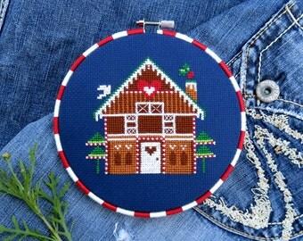 Christmas Cross Stitch Pattern – Gingerbread House – Modern Cross Stitch – Xmas Counted Cross Stitch Chart – German Cross Stitch Patterns