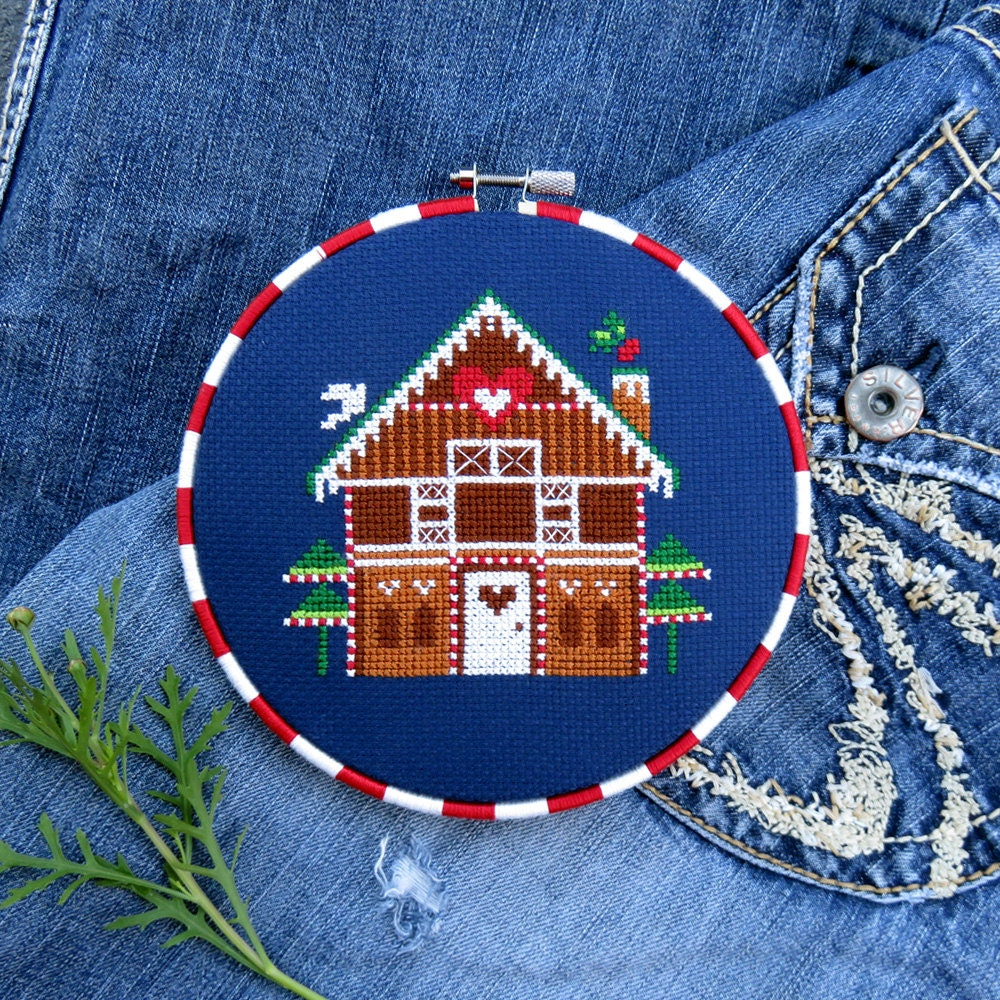 Christmas Cross Stitch Pattern Gingerbread House Modern