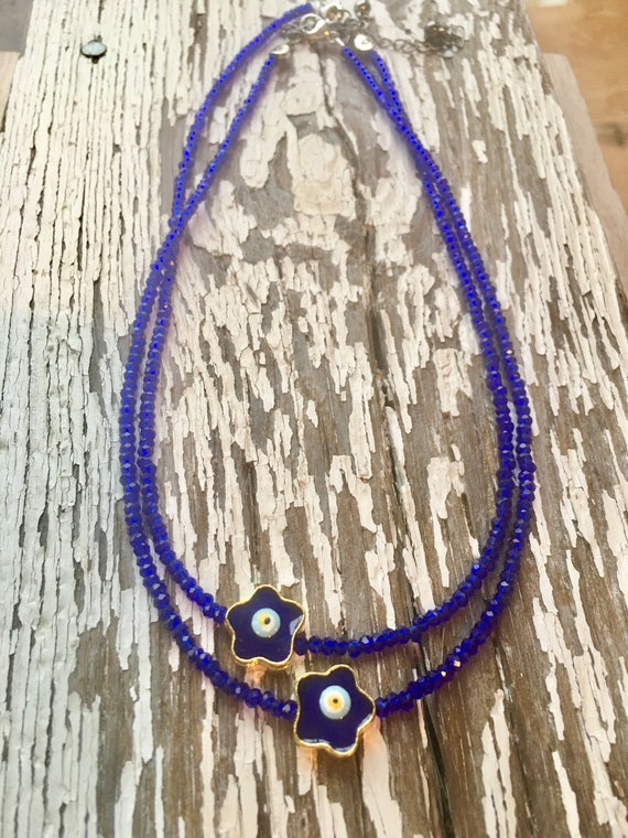 Flower Evil Eye Choker, Necklace