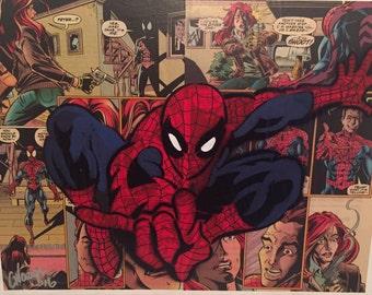 Amazing Spider-man handmade Comic Book Spray Painting - Summer Sale