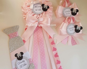 Minnie Baby Shower Mommy to be Pin/Minnie Baby Shower Mommy to be Corsage/Girl Mommy to be Corsage/Girl Mommy to be Pin/Minnie Shower Pin