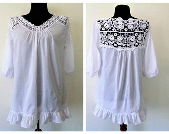 White Crochet Cotton Top, Cotton top Lace crochet, White Crochet Cotton Blouse, White peasant Blouse, boho, hippie, gypsy, rustic style