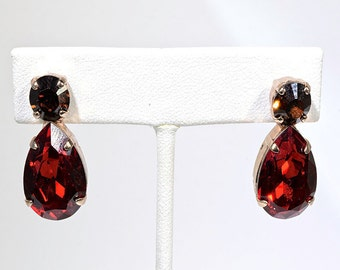 Burgundy Red and Bronze Drop Swarovski crystal earrings