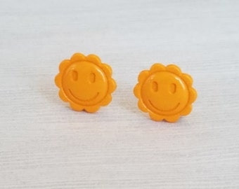 Yellow Flower Clip On Earrings Flower Clip-On Earrings for Girls Yellow Jewelry for Child Clip Earrings Flower Earrings for Girl