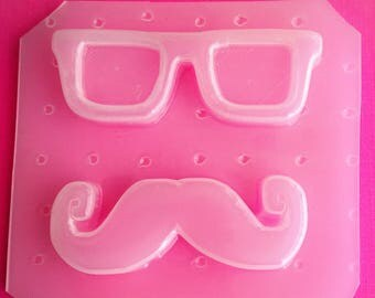 2pc Mustache And Glasses Flexible Plastic Mold For Resin Crafts