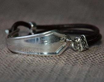 Vintage flatware bracelet with leather cord