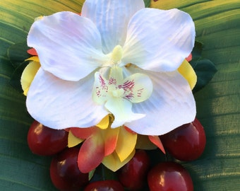 Tropical White & Yellow Orchid Cherry Hair flower